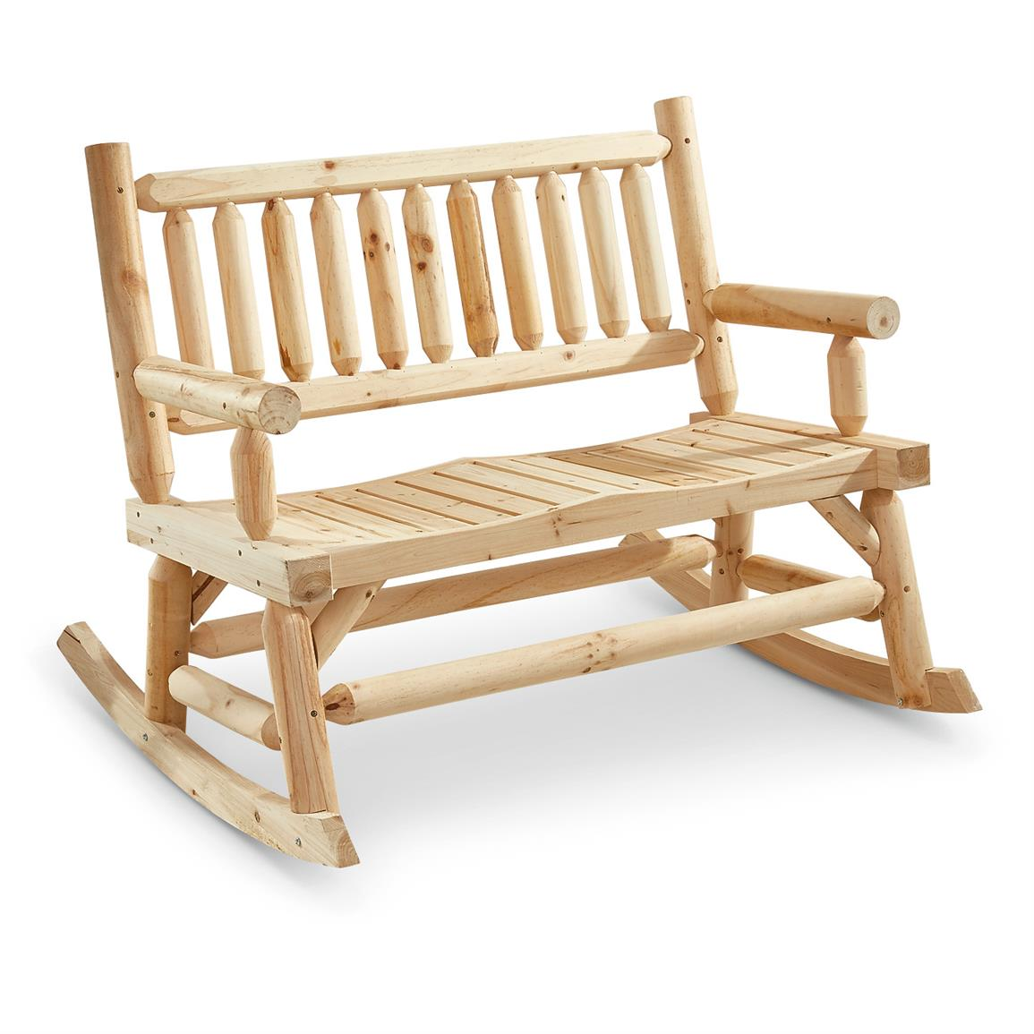 CASTLECREEK 2-Seat Wooden Rocking Bench