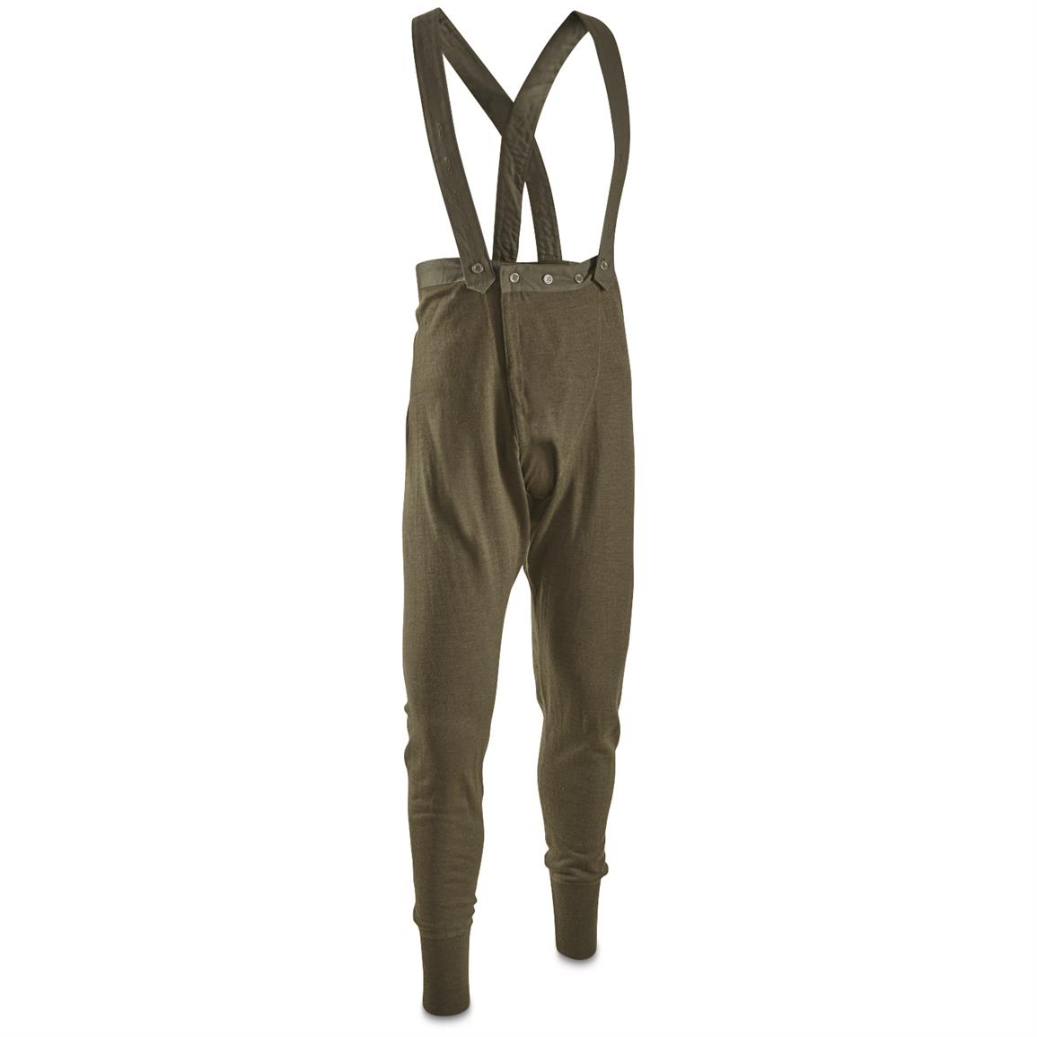 Swiss Military Issue Wool Long Johns with Suspenders, 2 Pack, New