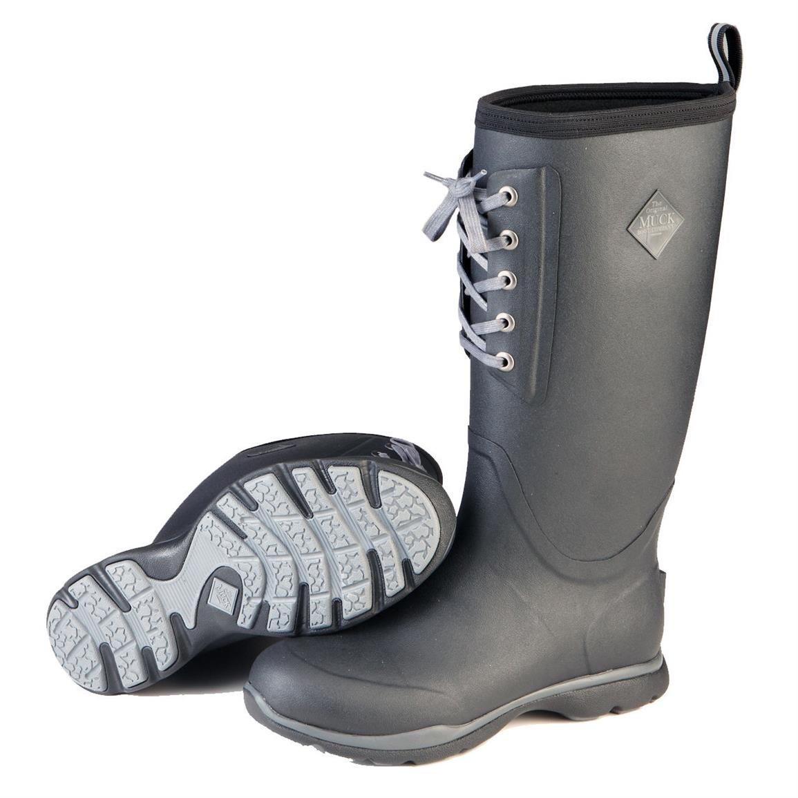 Muck Arctic Excursion Lace Tall Waterproof Insulated Rubber Boots, Black