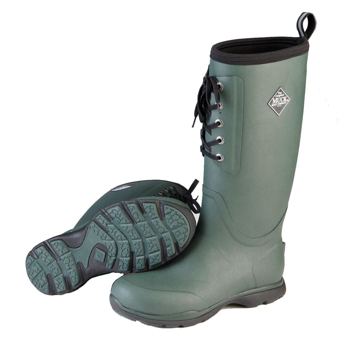 Muck Arctic Excursion Lace Tall Waterproof Insulated Rubber Boots, Green