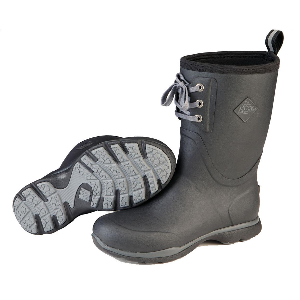 Muck Arctic Excursion Lace Mid Waterproof Insulated Rubber Boots, Black
