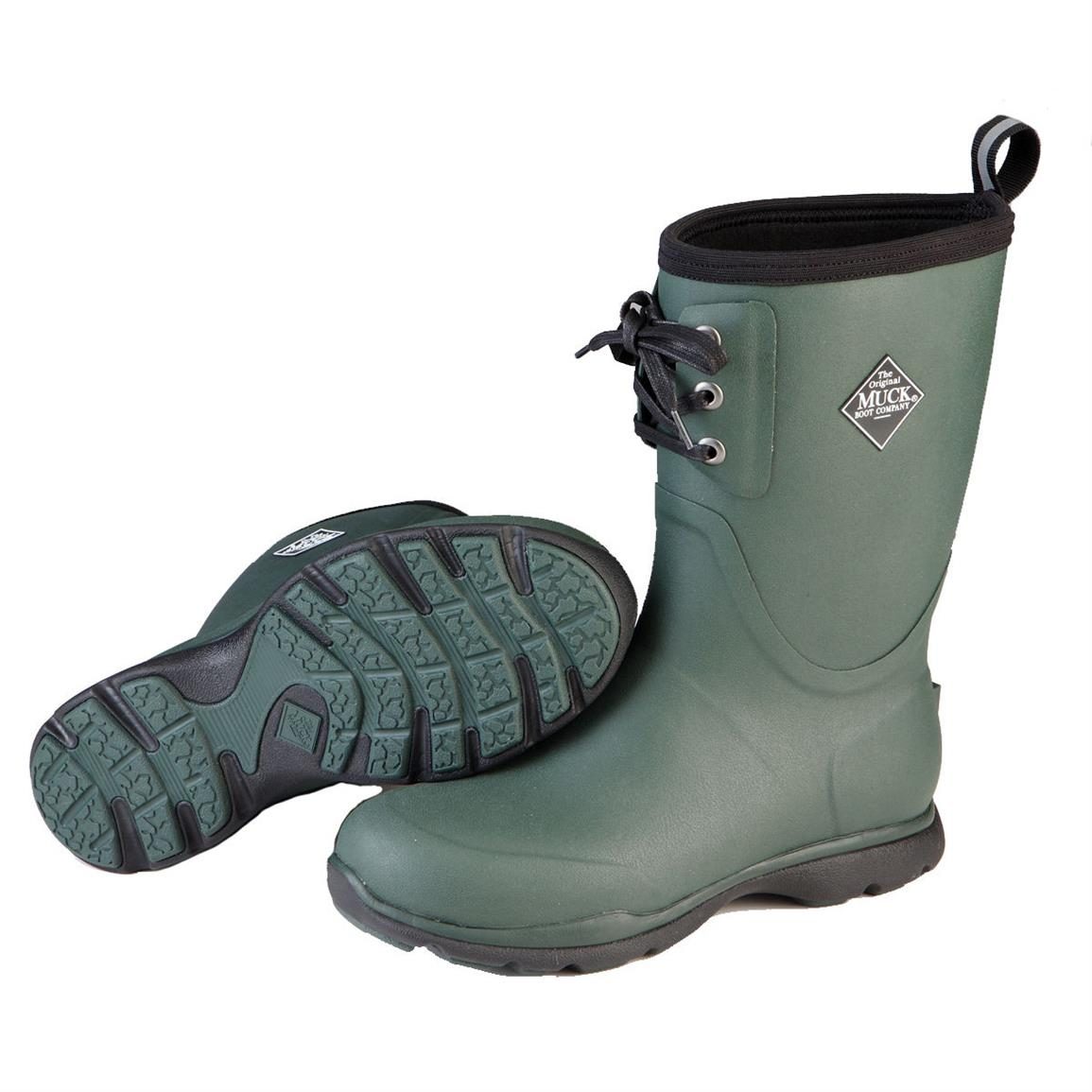 Muck Arctic Excursion Lace Mid Waterproof Insulated Rubber Boots, Green