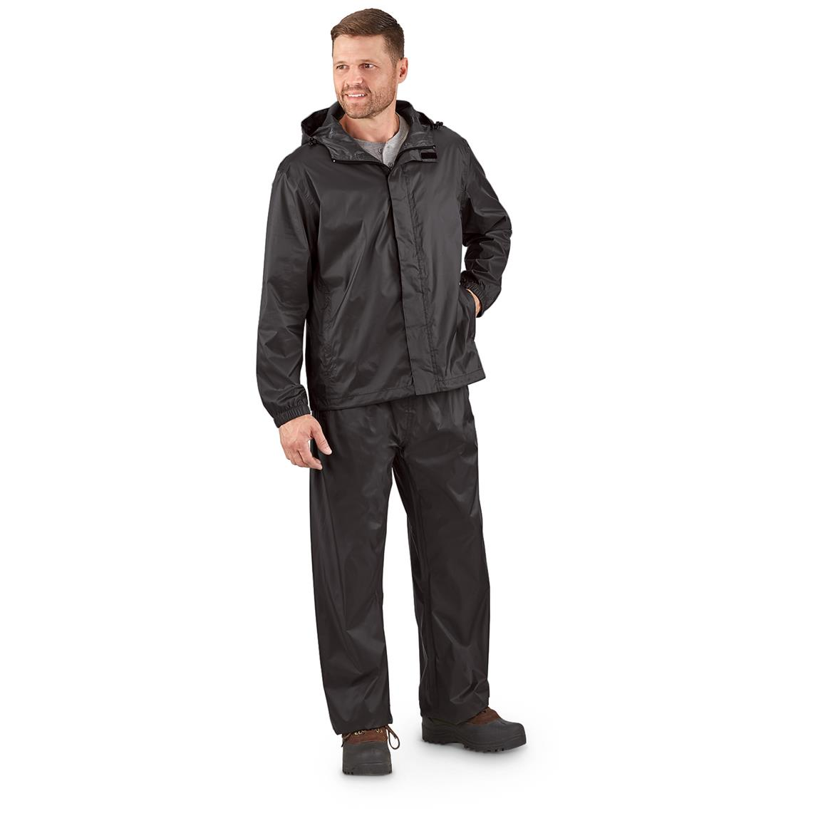Guide Gear Men's Packable Rain Suit, Front Black
