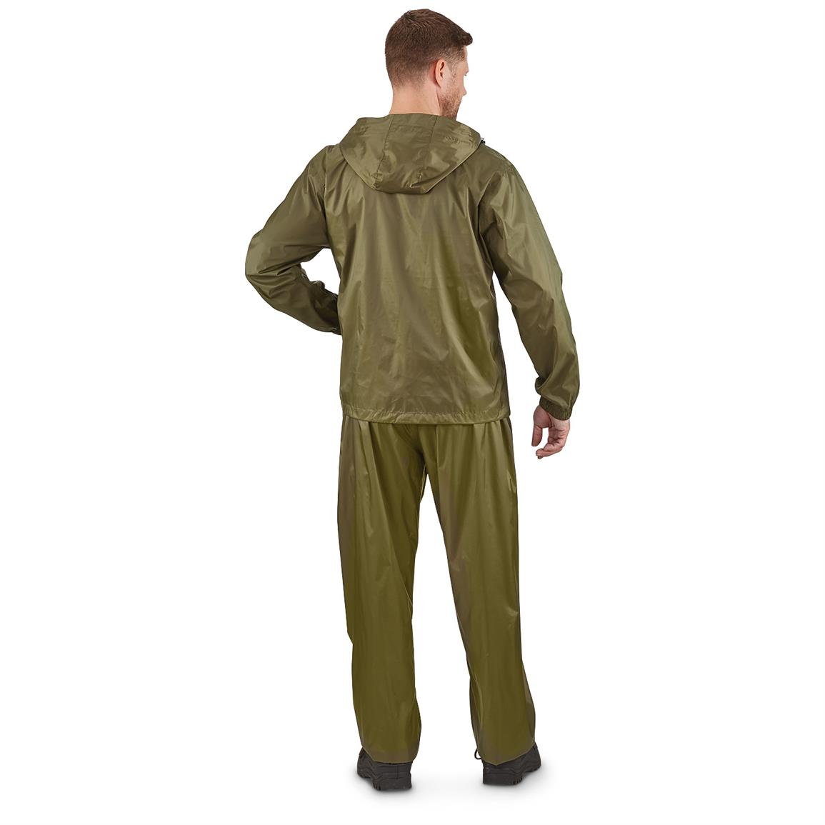 Guide Gear Men's Packable Rain Suit, Back Dark Green