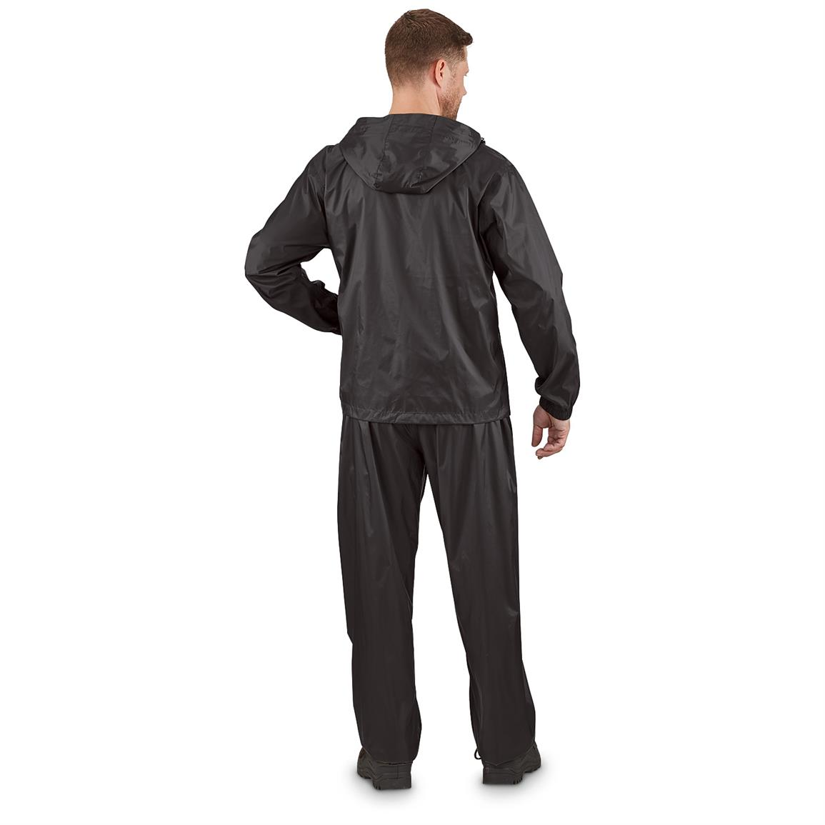 Guide Gear Men's Packable Rain Suit, Back Black