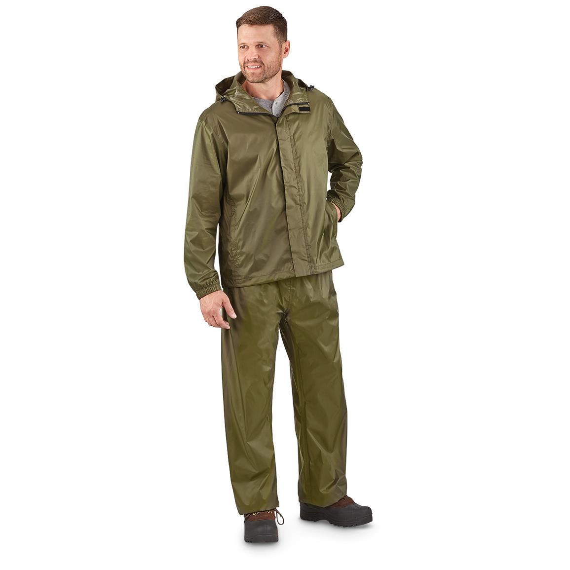 Guide Gear Men's Packable Rain Suit, Front Dark Green