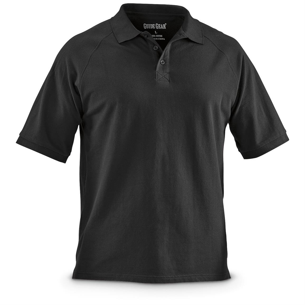Guide Gear Men's Cotton Polo Shirt, Black