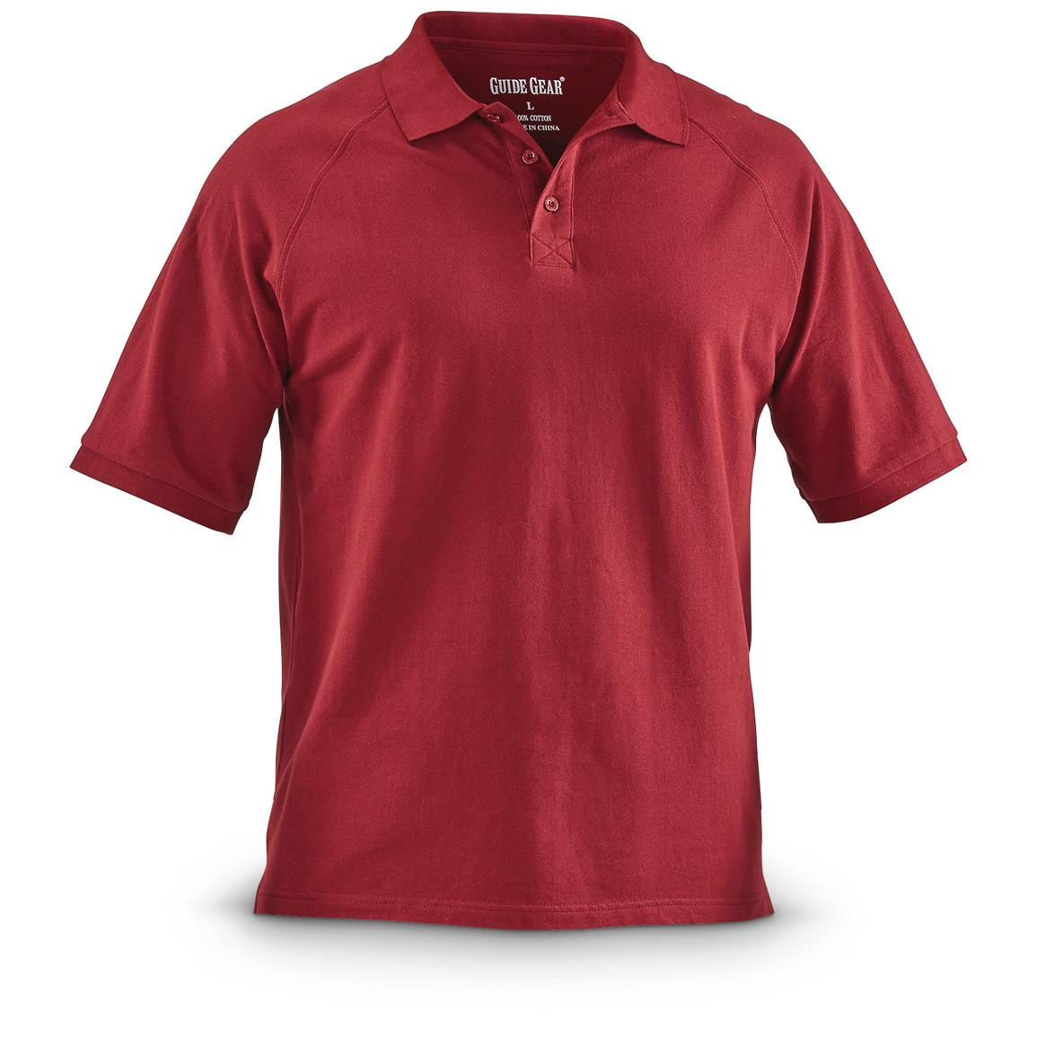 Guide Gear Men's Cotton Polo Shirt, Burgundy