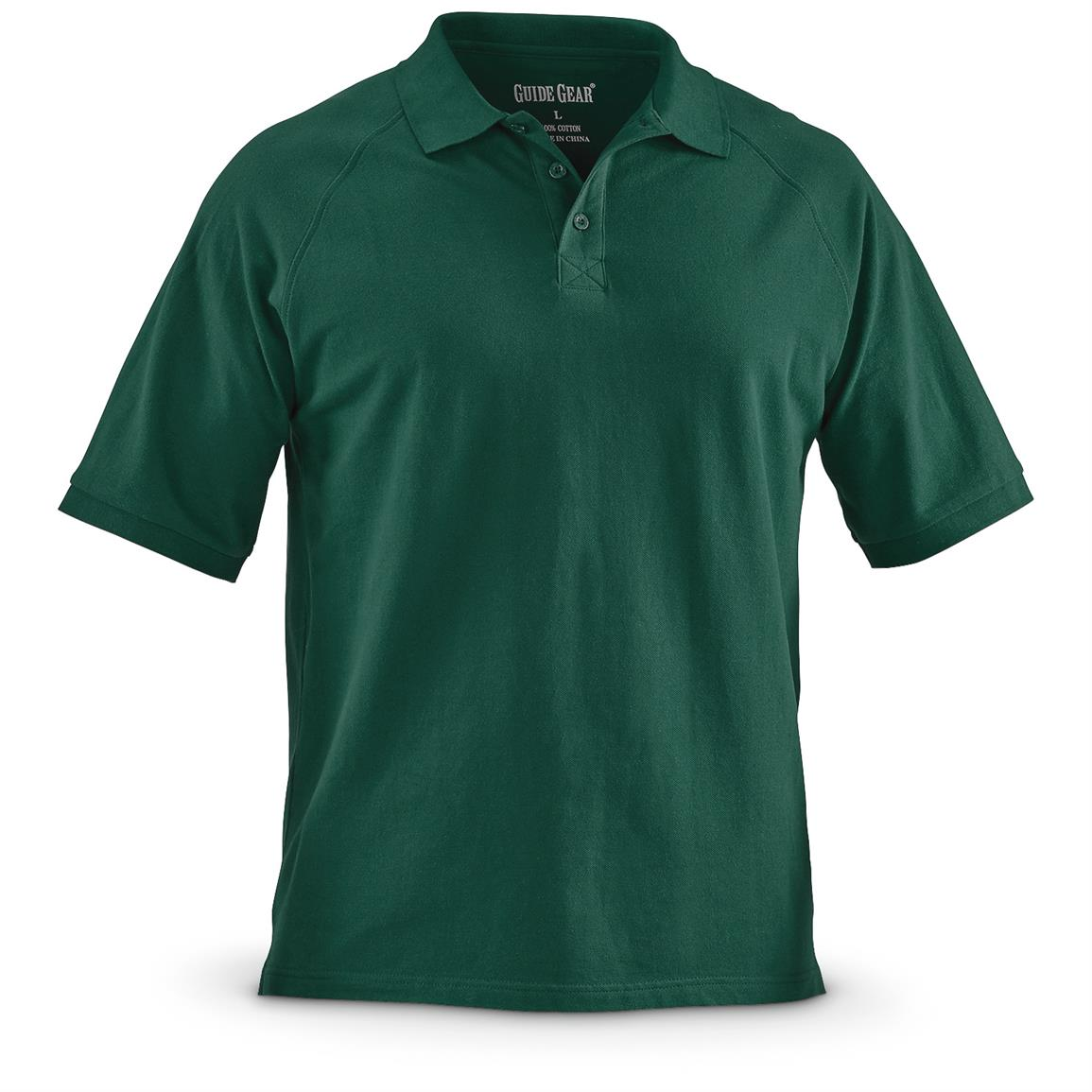 Guide Gear Men's Cotton Polo Shirt, Green
