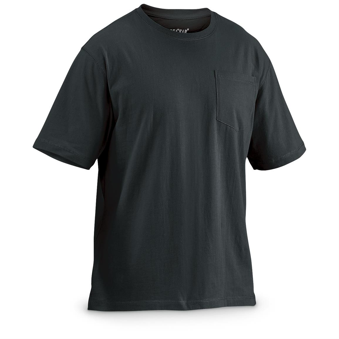 Guide Gear Men's Heavy-Weight Pocket Short-Sleeve T-Shirt, Black