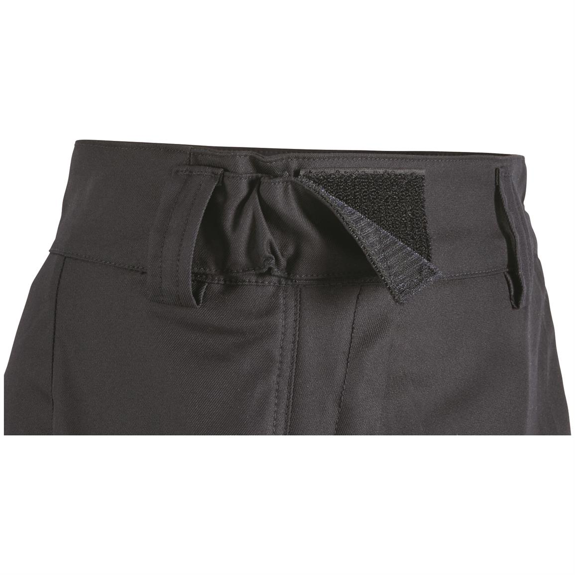 Elastic side waist adjusters with hook and loop panel