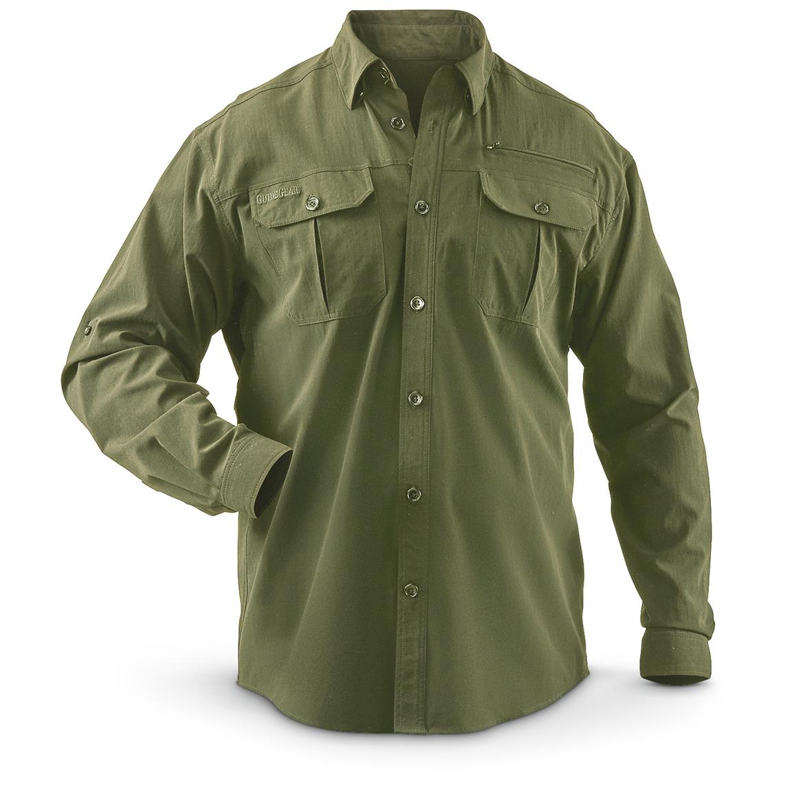 Guide Gear Men's Button Down Long Sleeve Hiking Shirt, Olive
