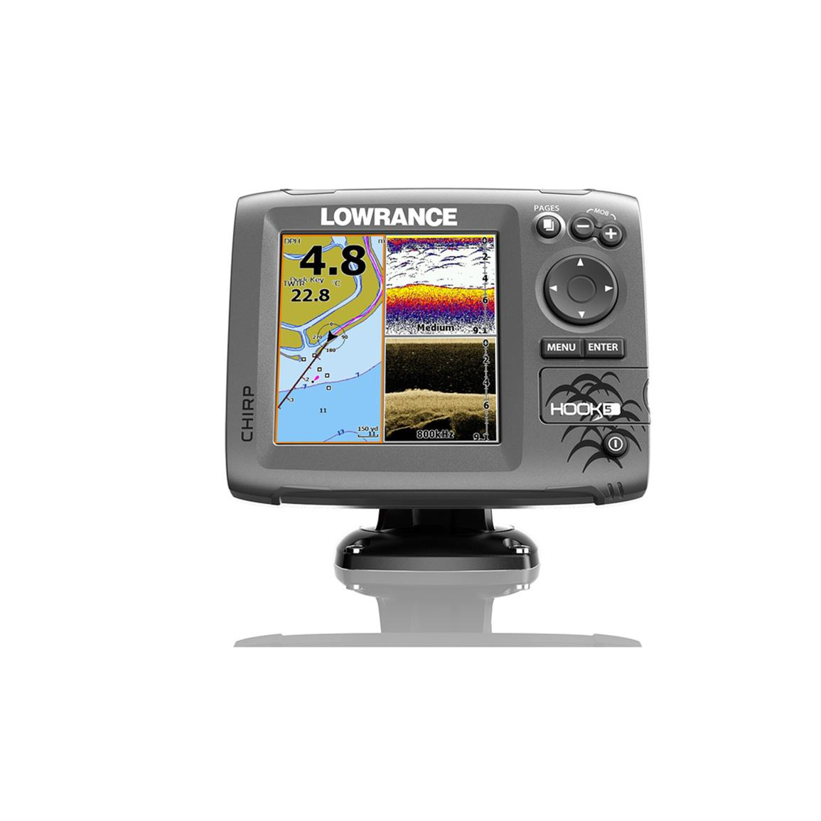 Lowrance Hook-5 Sonar Fish Finder / Chartplotter with DownScan Transducer / USCAN Navionics