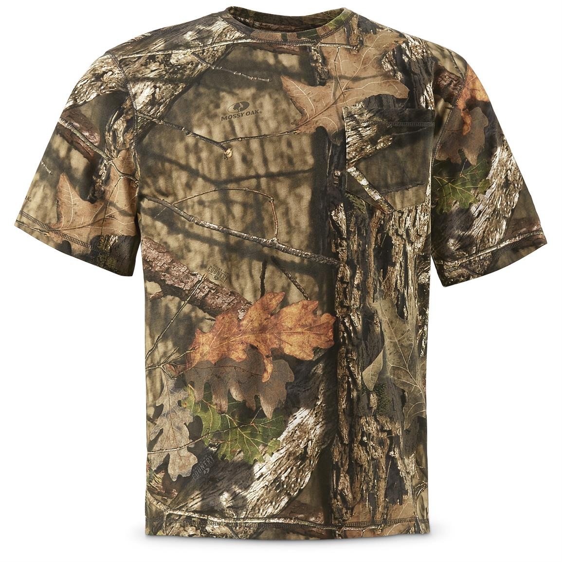 Guide Gear Men's Short Sleeve Camo T-Shirt, Mossy Oak Break-Up Country