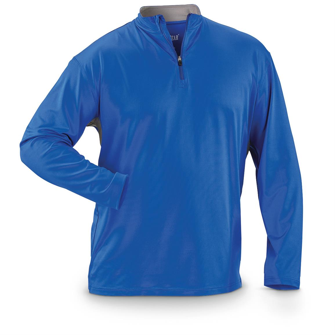 Guide Gear Men's Performance Fishing Pullover Quarter Zip Shirt, Deep Sea Blue