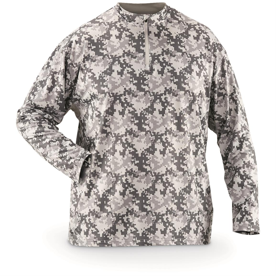 Guide Gear Men's Performance Fishing Pullover Quarter Zip Shirt, Gray Digi Camo