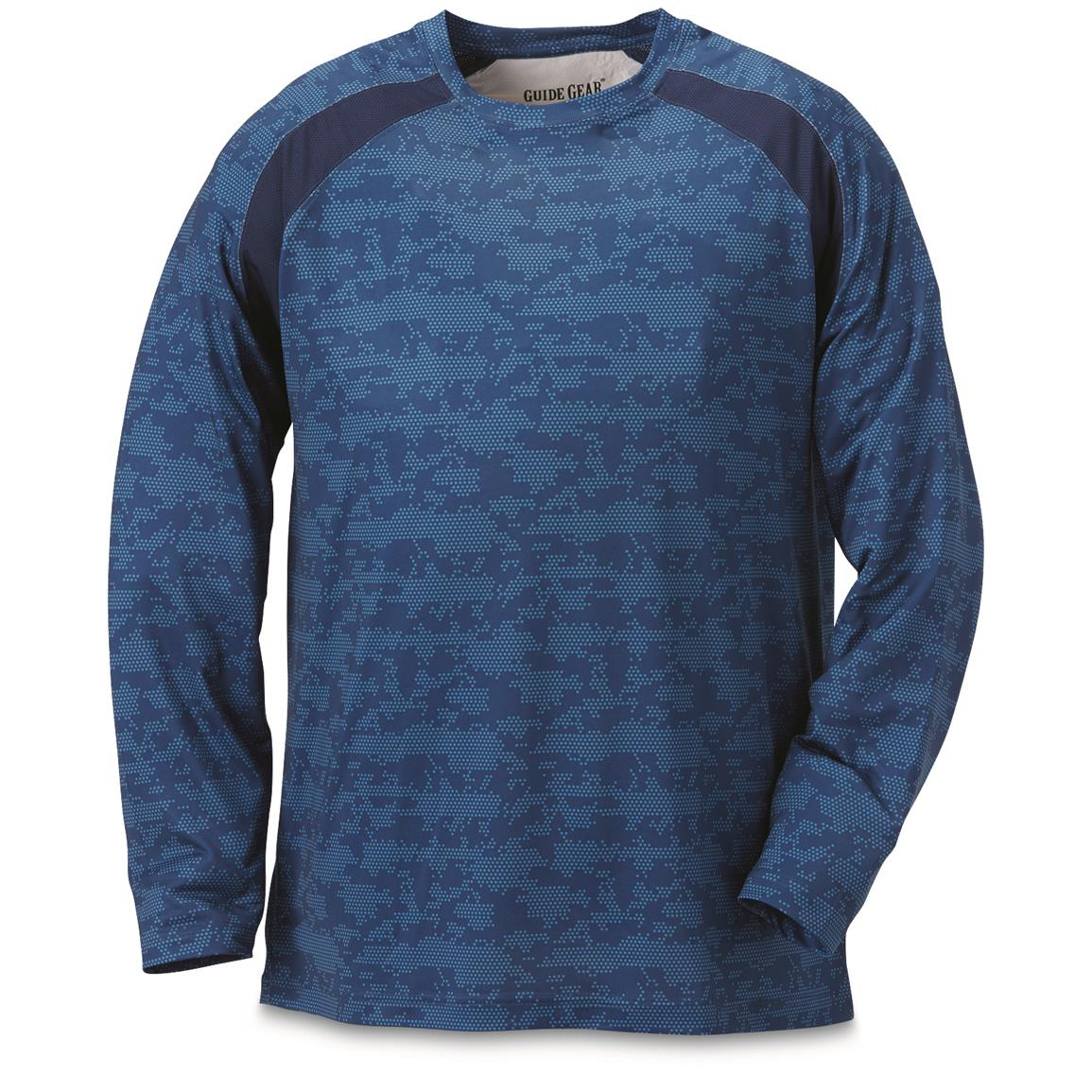 Guide Gear Men's Performance Fishing Long Sleeve T-Shirt, Blue Hex
