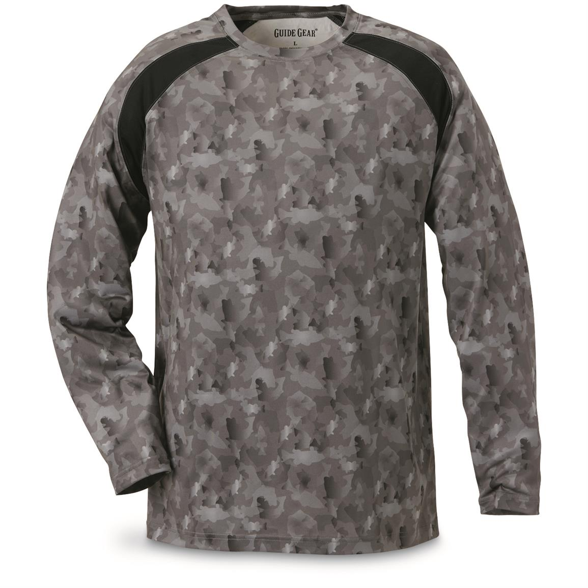 Guide Gear Men's Performance Fishing Long Sleeve T-Shirt, Black Fish Camo