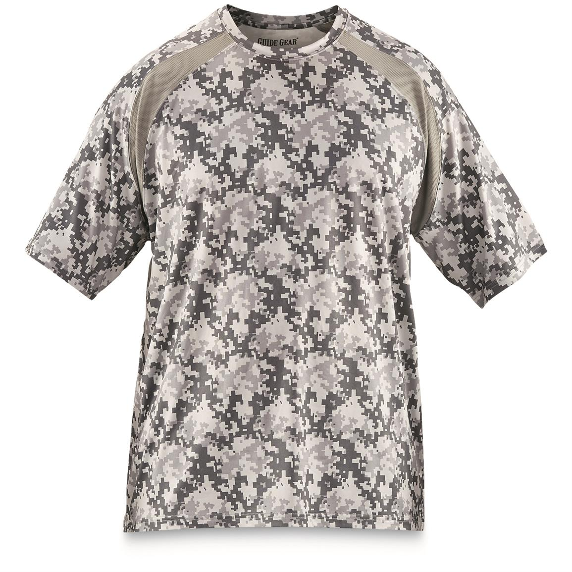 Guide Gear Men's Performance Fishing Short Sleeve T-Shirt, Gray Digital Camo