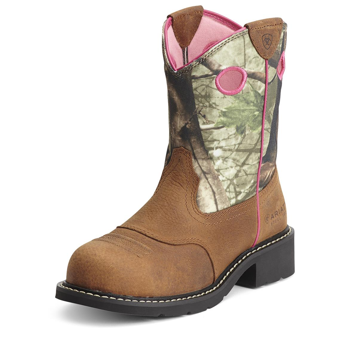 Women's Ariat Fatbaby Steel Toe Cowgirl Boots, Auburn / Camo