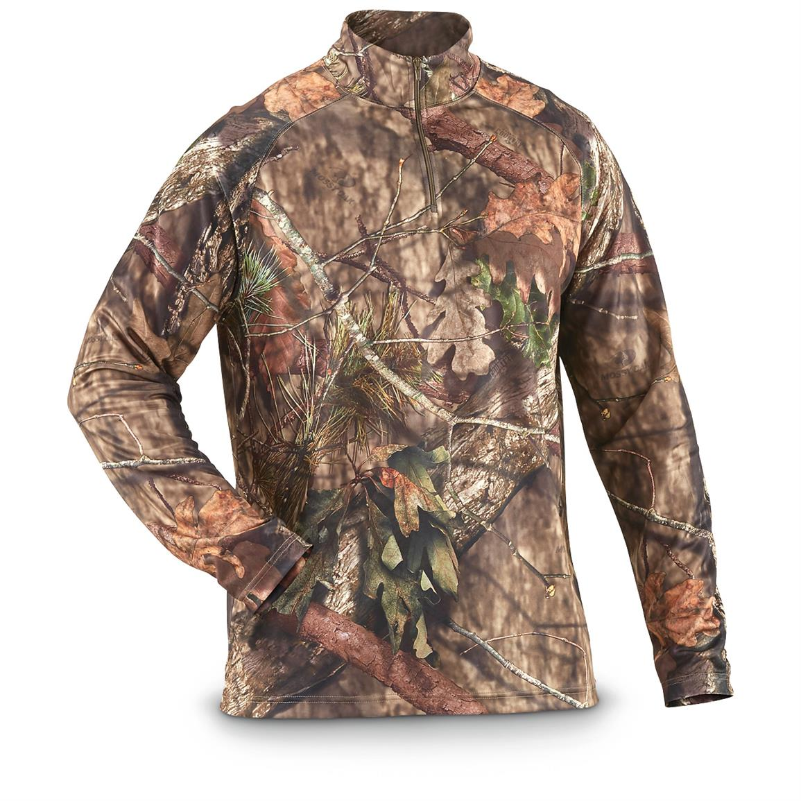 Guide Gear Men's Performance Hunting Camo 1/4 Zip Shirt, Mossy Oak Break-Up Country