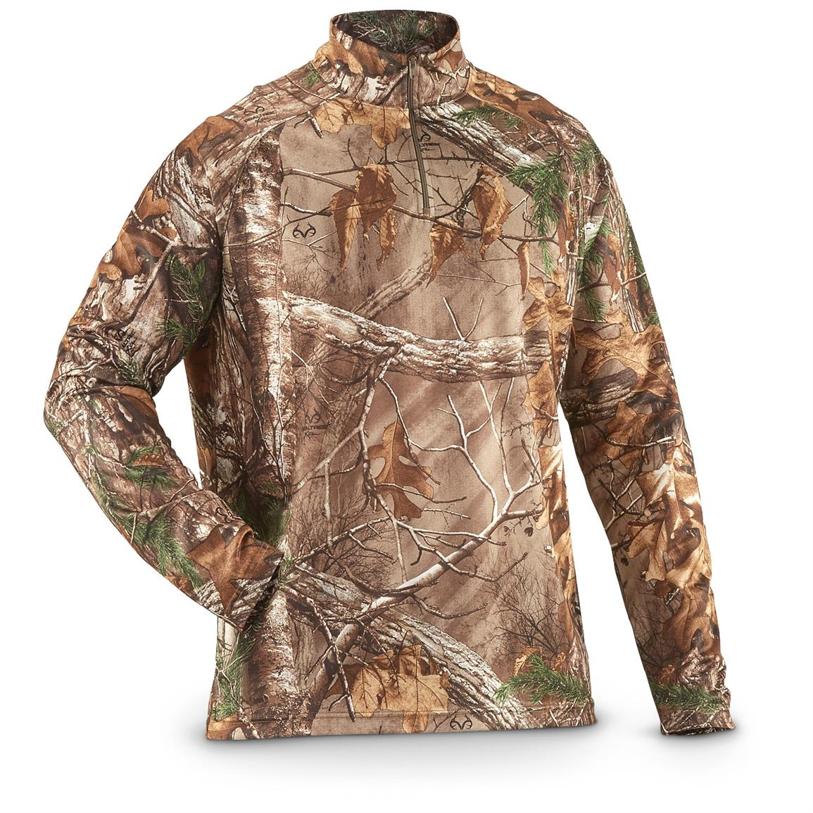 Guide Gear Men's Performance Hunting Camo 1/4 Zip Shirt, Realtree Xtra