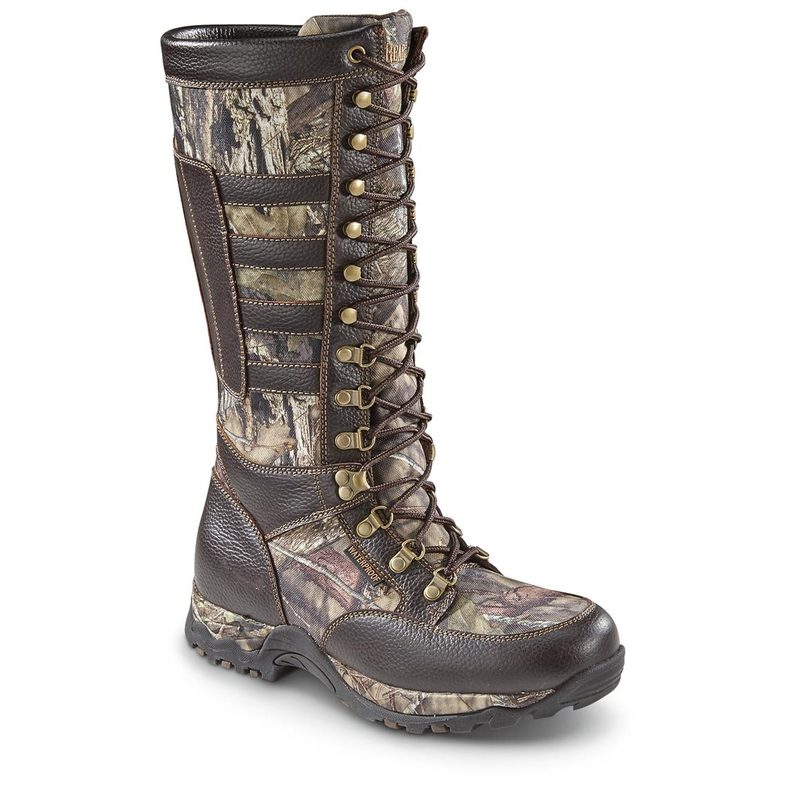 Guide Gear Men's Leather Snake Boots, Waterproof, Side Zip, Brown / Mossy Oak Break-Up Country, Brown/Mossy Oak Break-Up® COUNTRY™