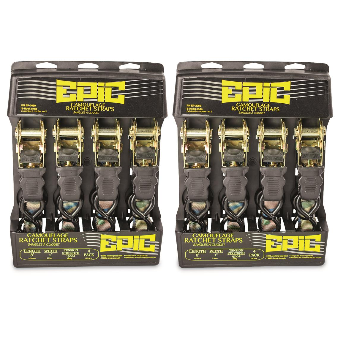 Epic Camo Ratchet Straps, 8-Pk.