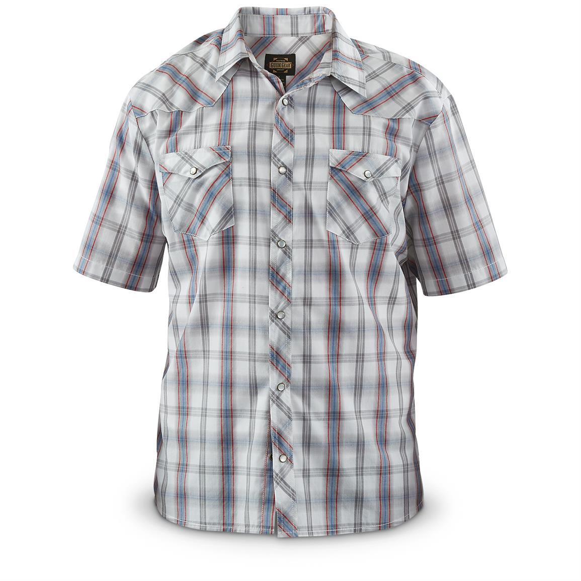 Guide Gear Men's Amarillo Western Short-Sleeve Shirt, White Plaid