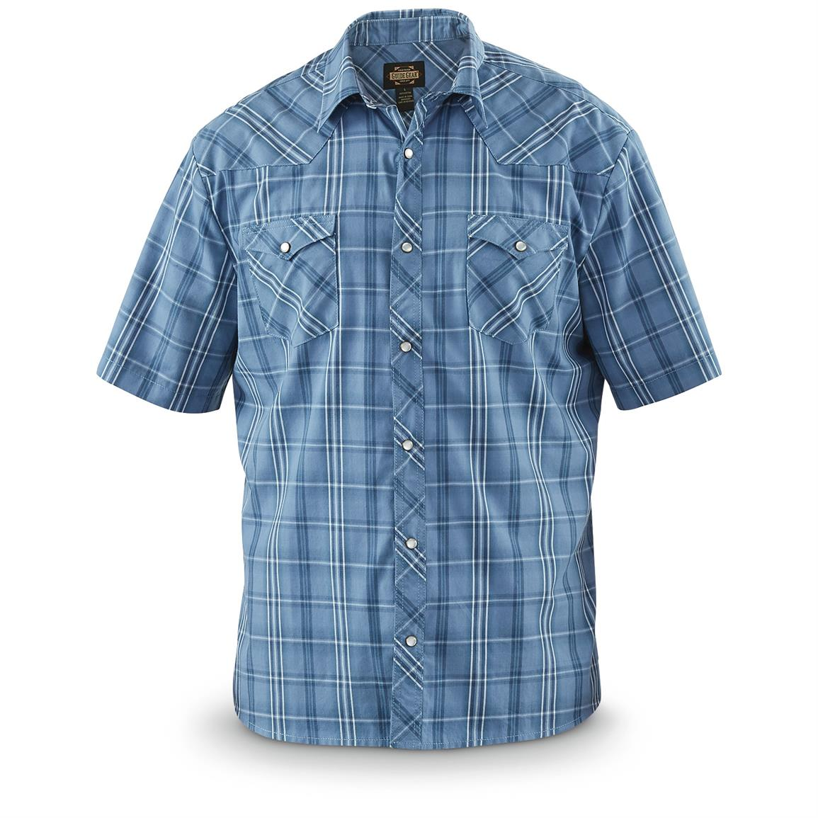 Guide Gear Men's Amarillo Western Short-Sleeve Shirt, Blue Plaid