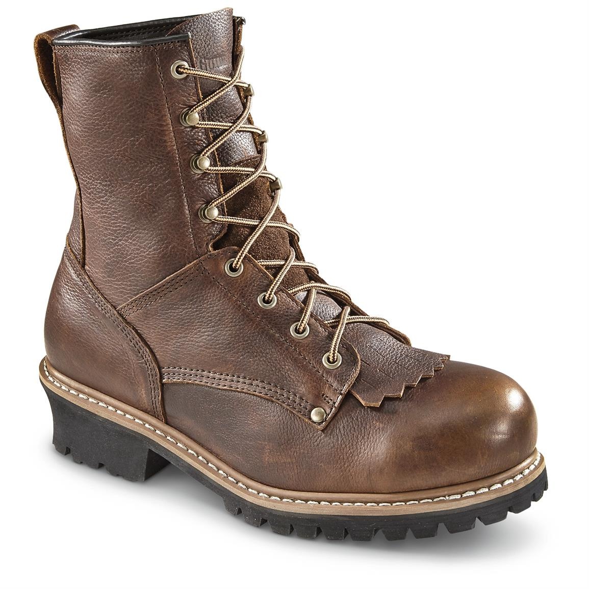 Guide Gear Men's Sawtooth Logger Boots, Steel Toe, Brown