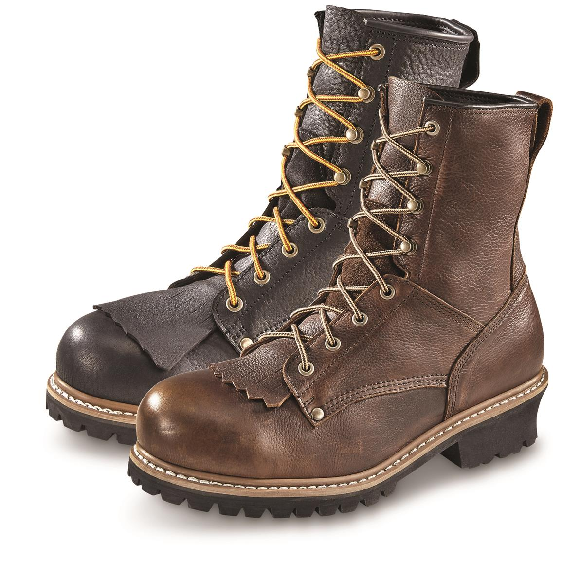 Guide Gear Men's Sawtooth Logger Boots, Steel Toe • Black or Brown