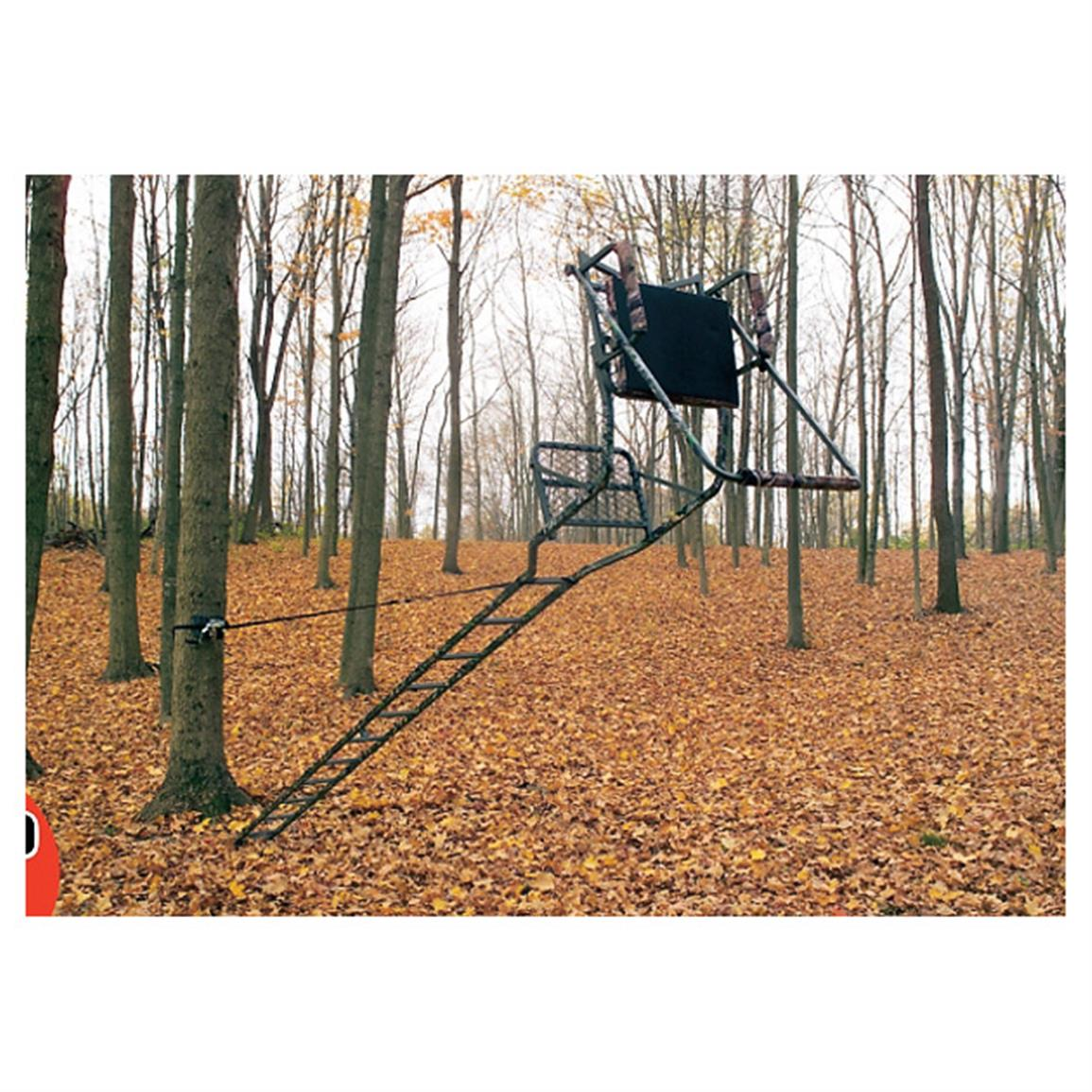 Includes a pair of ground swivel pegs, 25 foot winch strap and tree stand tether strap
