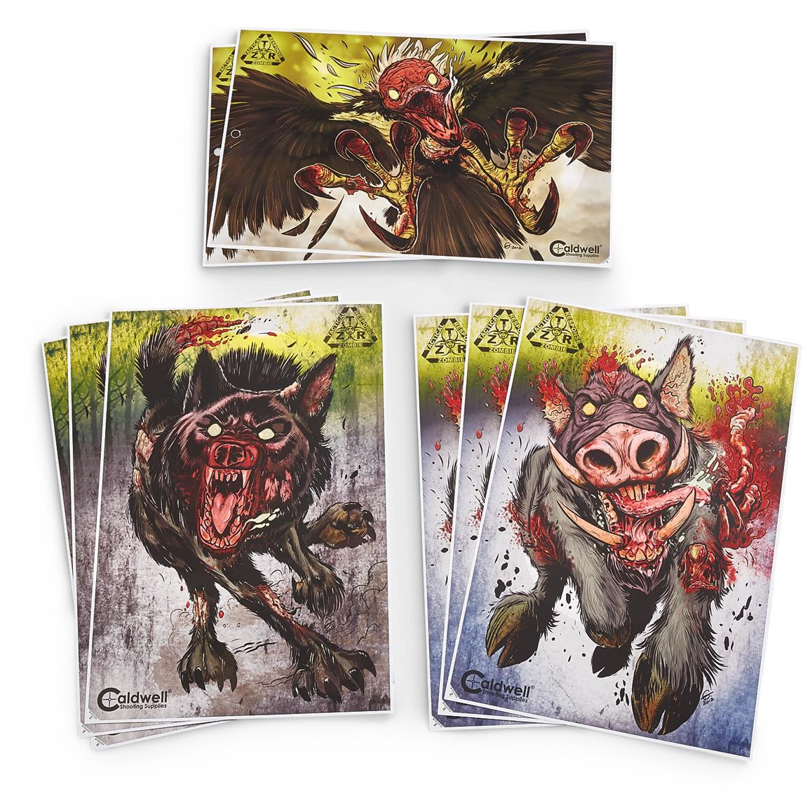 Caldwell ZTR Zombie Flake-Off Animal Combo Pack Shooting Targets, 8 Pack