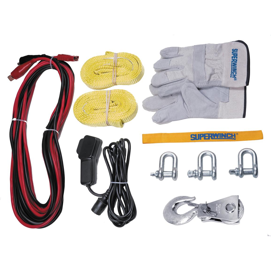 Kit includes tthree 20,000-lb. D-shackles, two 8 foot heavy-duty straps rated for 8,000 lbs., a 16,000-lb. pulley block, a 12 foot hand held remote, a 20 foot quick-connect power cord, and a pair of heavy-duty leather palmed winch gloves