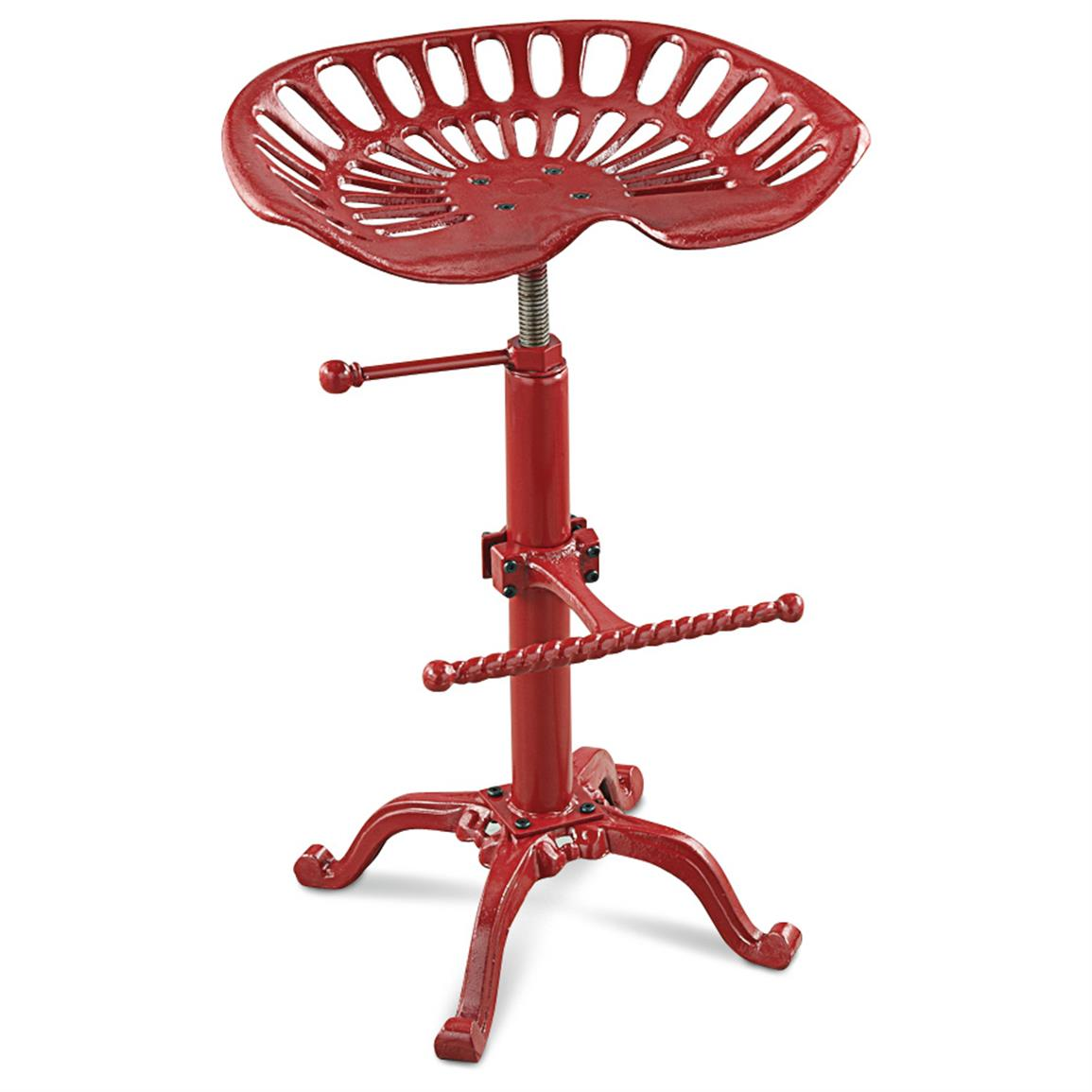Farmhouse Adjustable Tractor Seat Bar Stool, Red