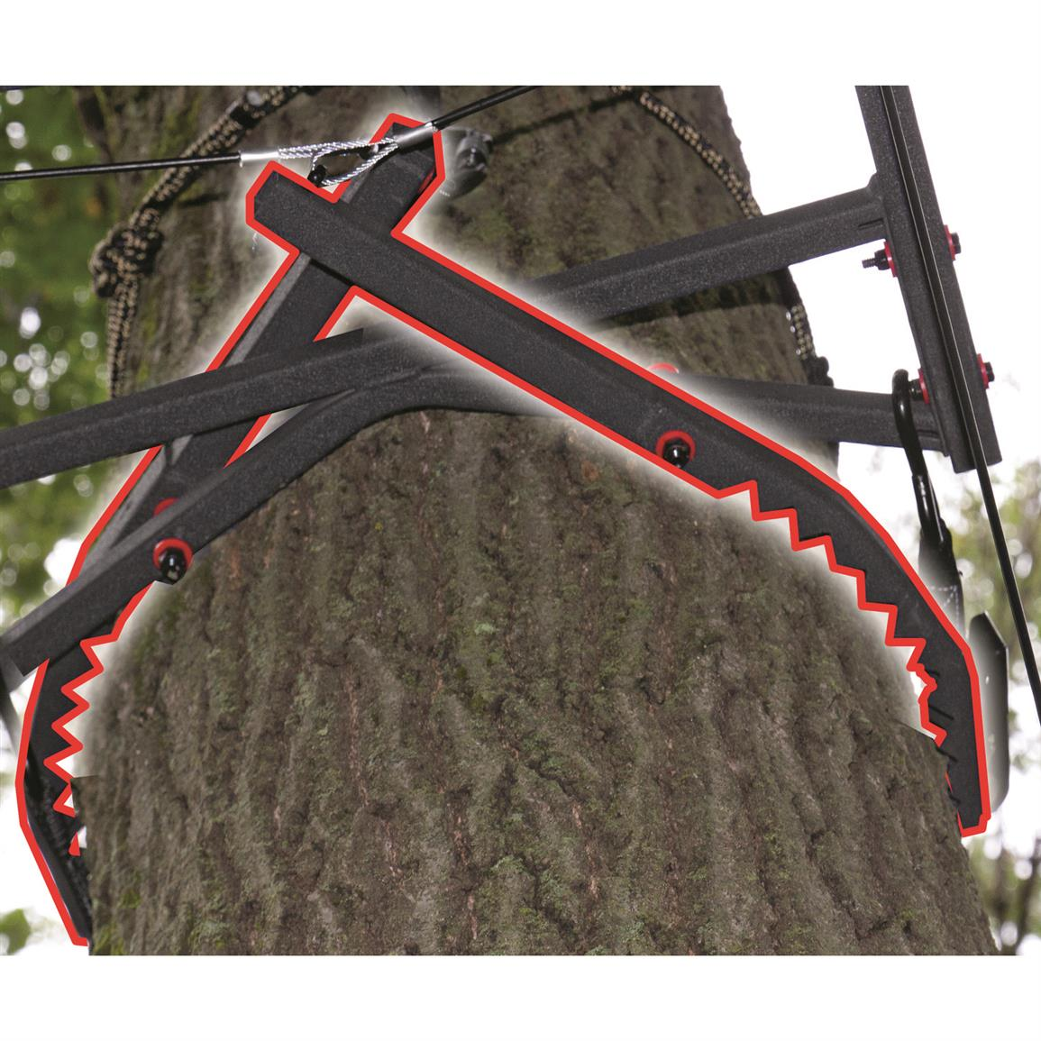 Jaw Safety System provides solid, secure attachment to tree before you climb up