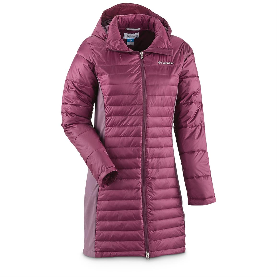 Columbia Women's Powder Pillow Long Jacket, Purple Dahlia