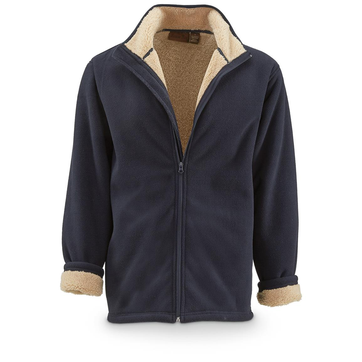 Marino Bay Men's Full Zip Fleece Jacket with Sherpa Lining, Navy