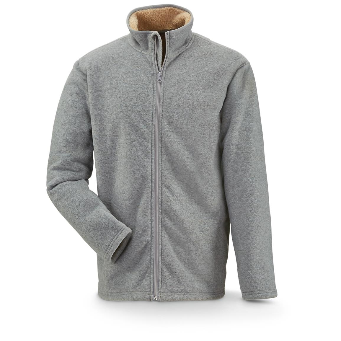 Marino Bay Men's Full Zip Fleece Jacket with Sherpa Lining, Heather Gray