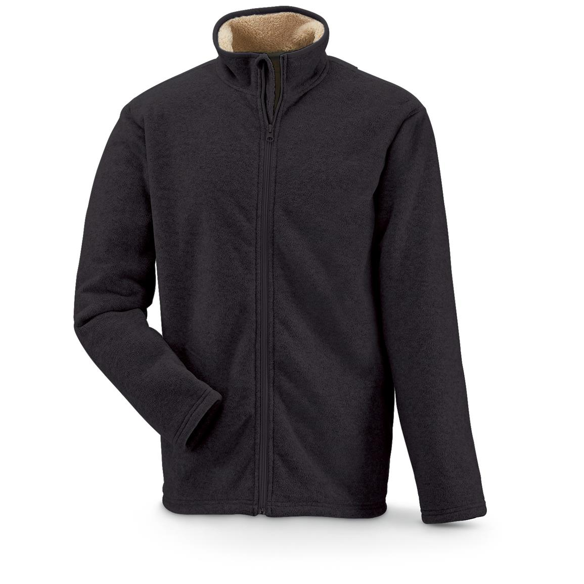 Marino Bay Men's Full Zip Fleece Jacket with Sherpa Lining, Black