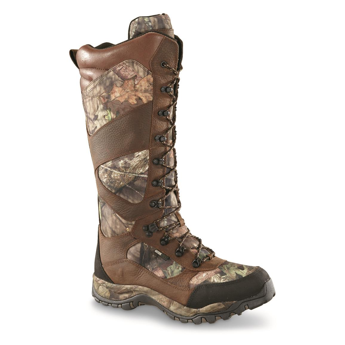 "Guide Gear Mens Pursuit II Camo 16"" Snake Boots, Mossy Oak Break-Up Country, Waterproof, Side Zip  • Snake Guard fabric provides reliable protection from aggressive snakes"