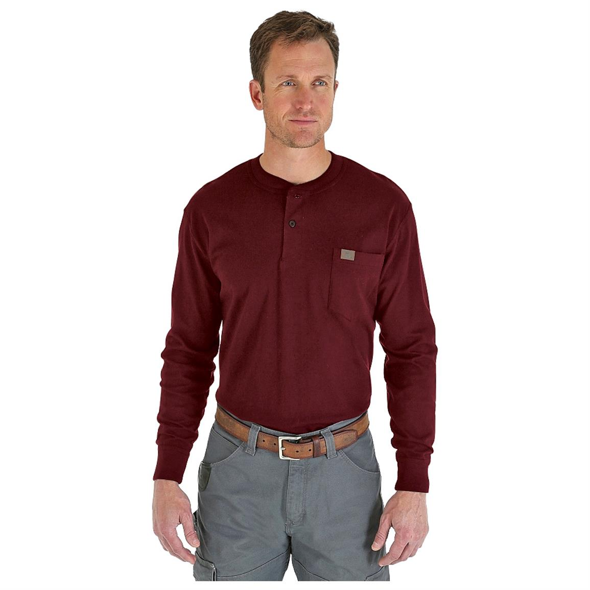 Wrangler RIGGS Workwear Long Sleeve Henley Shirt, Burgundy