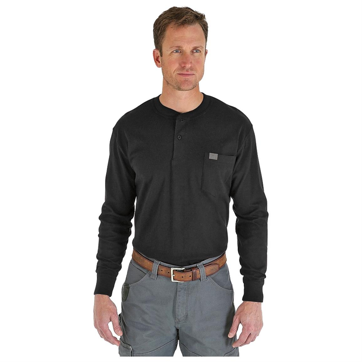 Wrangler RIGGS Workwear Long Sleeve Henley Shirt, Black
