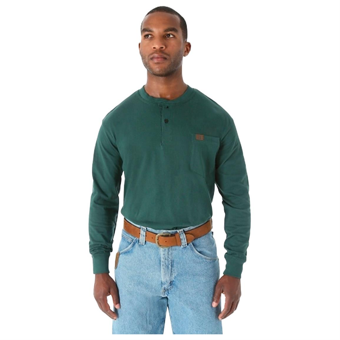 Wrangler RIGGS Workwear Long Sleeve Henley Shirt, Forest Green