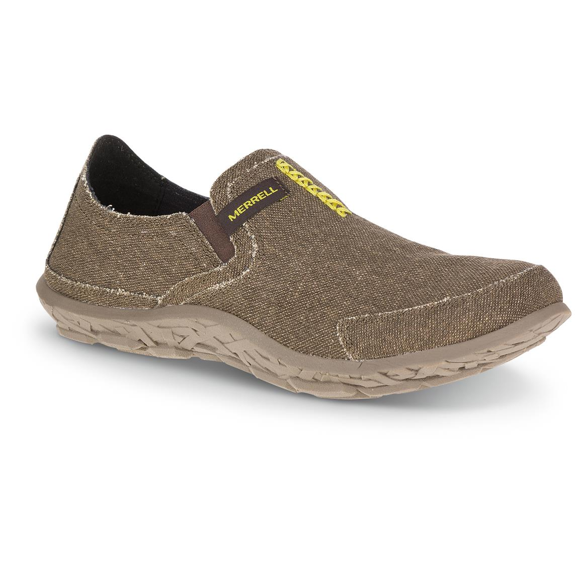 Merrell Men's Slipper Shoes, Dark Brown / Lime