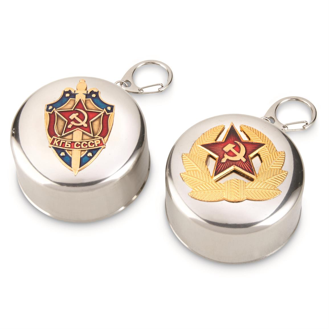 Soviet-Russian Stainless Steel Folding Cups, 2 Pack, New