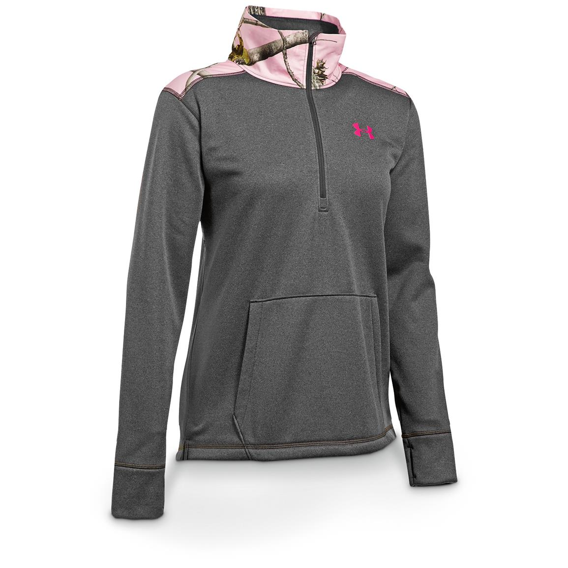 Under Armour Women's Caliber ColdGear 1/2-Zip Sweatshirt, Carbon Heather / Tropic Pink