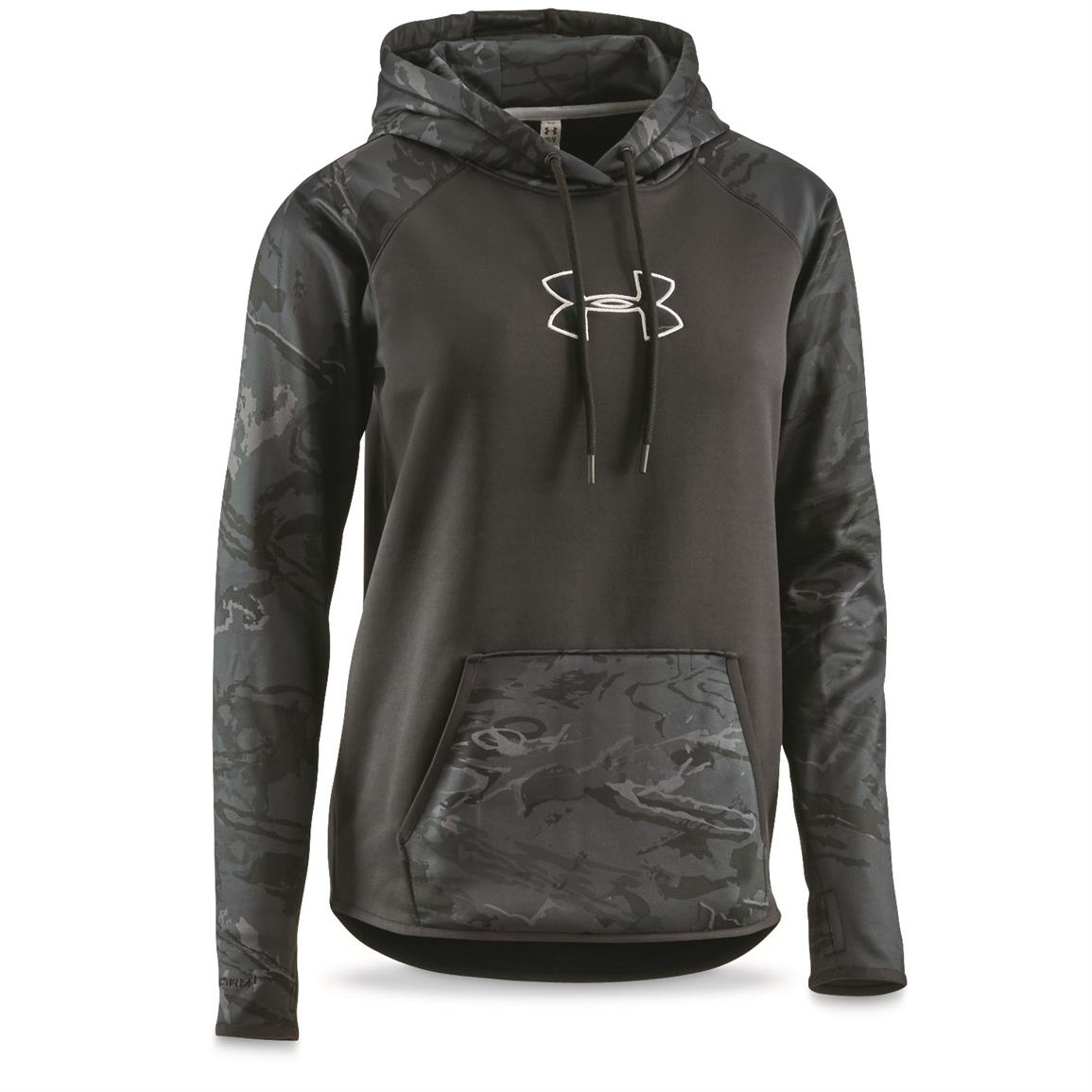 Under Armour Women's Icon Caliber Hoodie, Black / Black Tonal Reaper