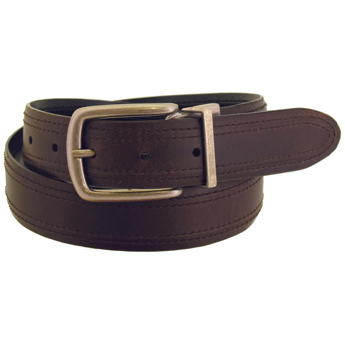 Wrangler Rugged Wear Men's Reversible Leather Belt, Brown